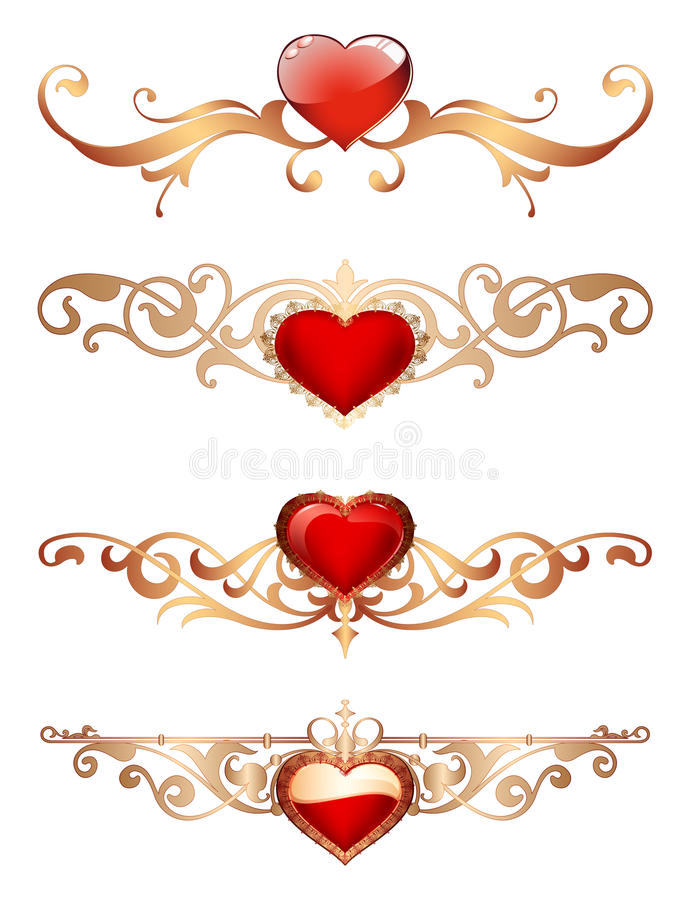 Ornamental Borders With Hearts Romantic Red Hearts With