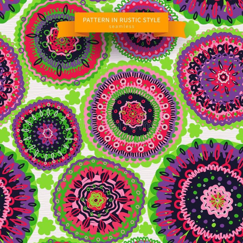 Ornamental circles backdrop in folk style. vector illustration