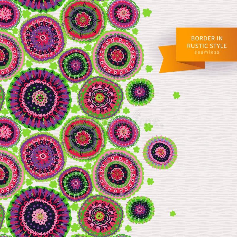 Ornamental circles border in folk style. stock illustration