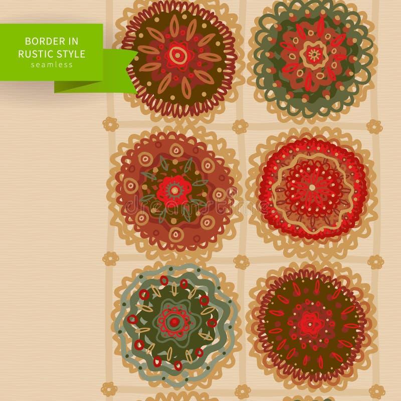 Ornamental circles border in folk style. royalty free illustration