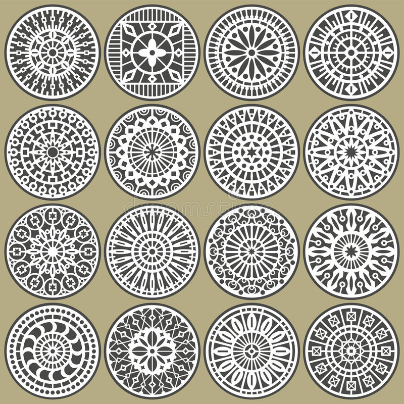 Ornamental circles decors stock images