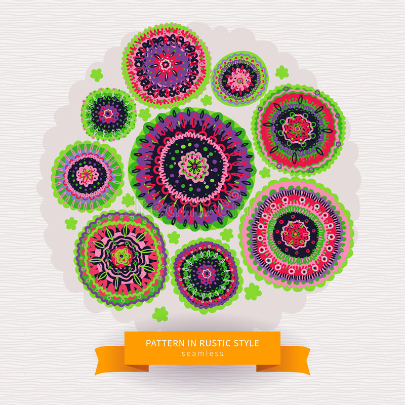 Ornamental circles pattern in folk style. vector illustration