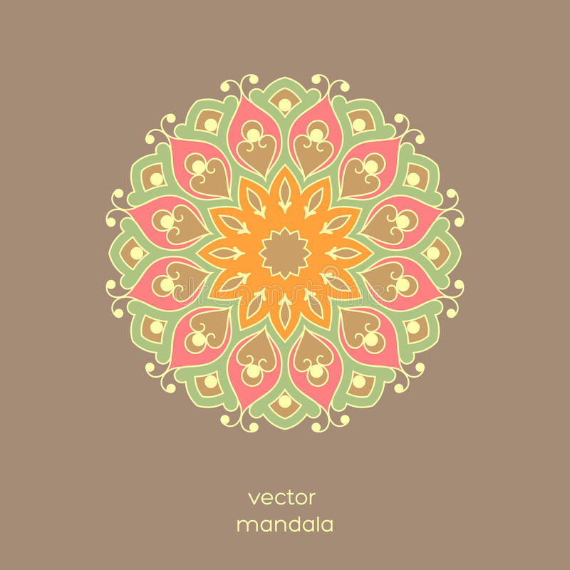 Ornamental colorful floral mandala on light brown color background. Stylish geometric pattern in oriental style. royalty free illustration