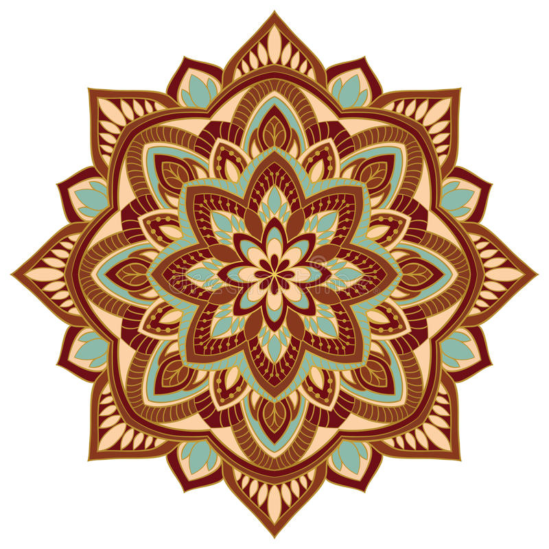 Ornamental colorful mandala. Vector colorful mandala with abstract elements, isolated on white background. Oriental ornament. Template for carpet, textile and stock illustration