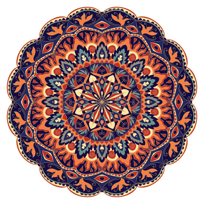 Ornamental colorful mandala. Vector colorful mandala with abstract elements, isolated on white background. Oriental ornament. Template for carpet, textile and royalty free illustration
