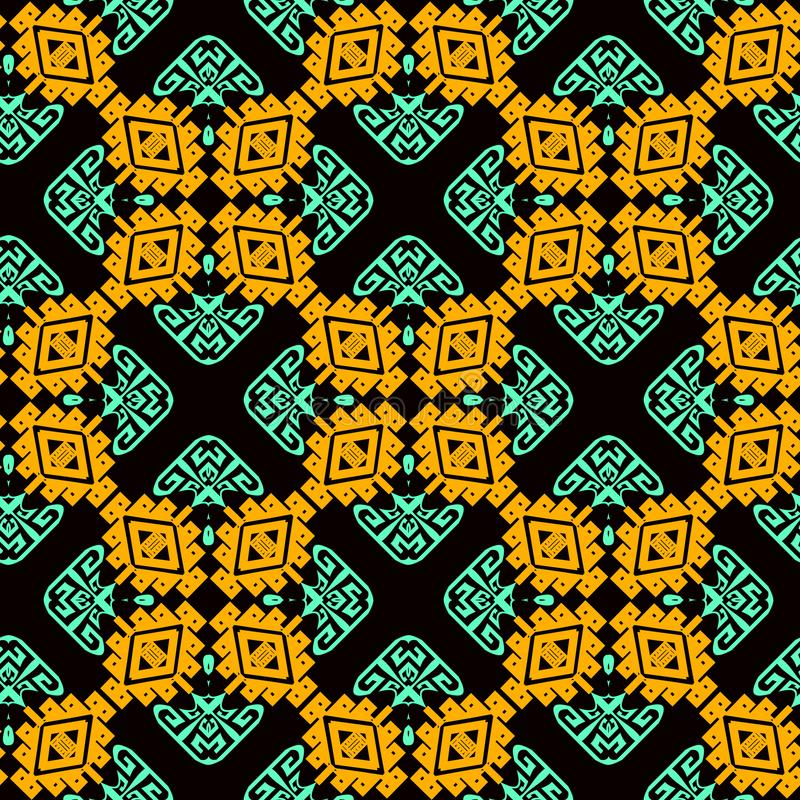 Ornamental colorful tribal vector seamless pattern. Ethnic style patterned geometric background. Repeat tiles backdrop. Greek key royalty free illustration