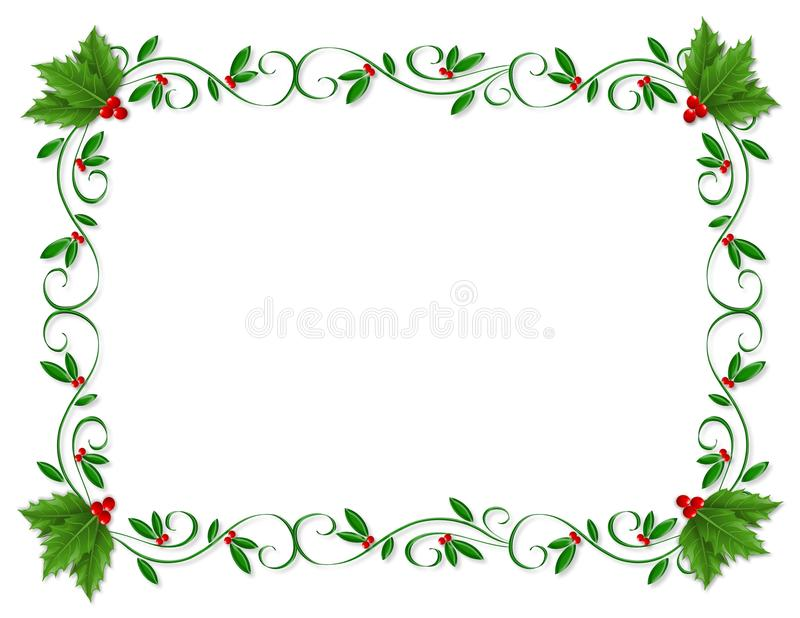 Ornamental de houx de cadre de Noël illustration stock