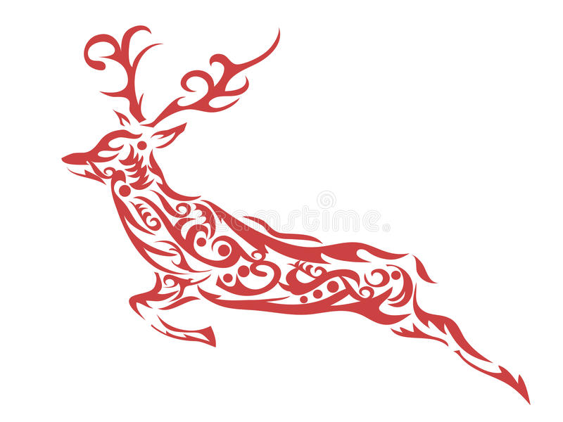 Ornamental deer royalty free illustration