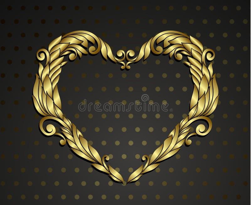 Ornamental del corazón del oro stock de ilustración