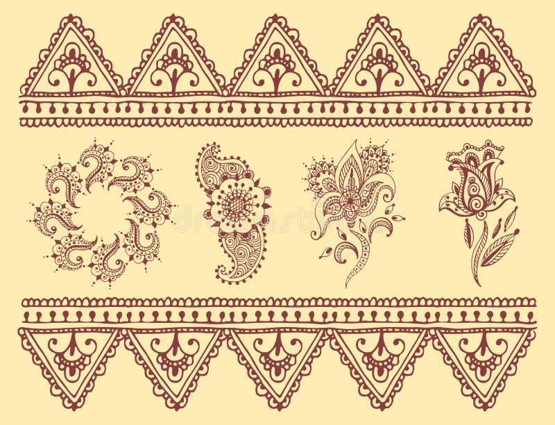 Ornamental del garabato de la flor del mehndi del marrón del tatuaje de la alheña ilustración del vector