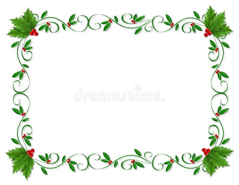 Ornamental dell'agrifoglio del bordo di natale illustrazione di stock
