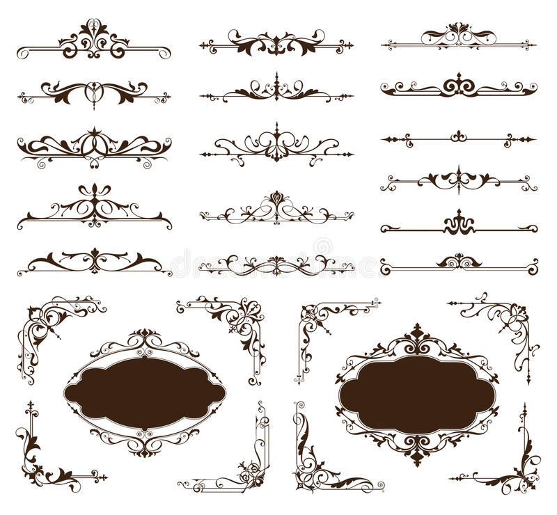 Ornamental design borders and corners Vector set of vintage ornaments. Paged dividers frames and borders with patterned vintage clipart curls on a white stock illustration