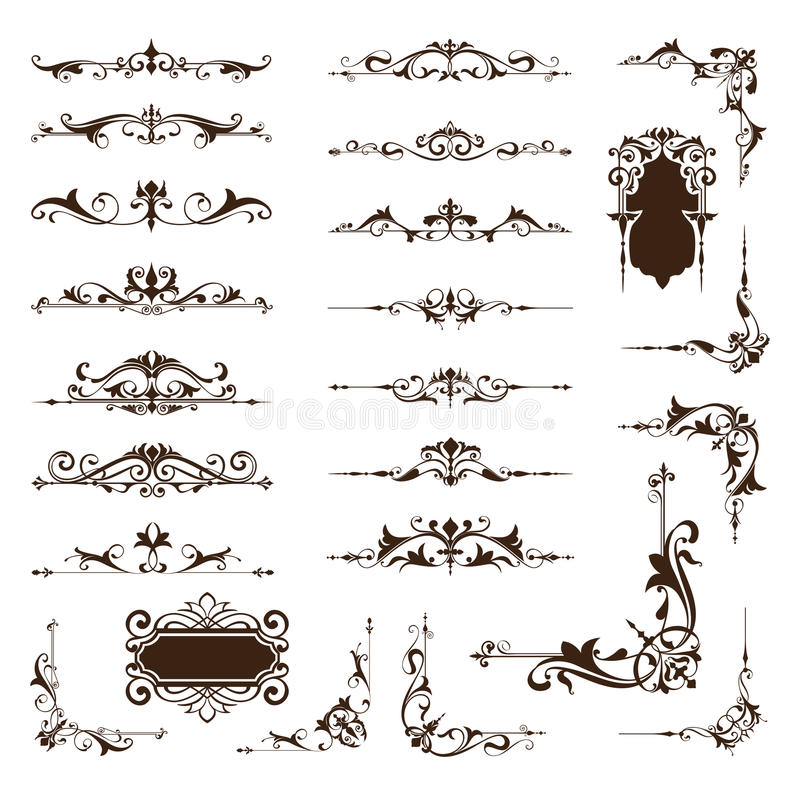 Ornamental design borders and corners Vector set of vintage ornaments. Paged dividers frames and borders with patterned vintage clipart curls on a white vector illustration