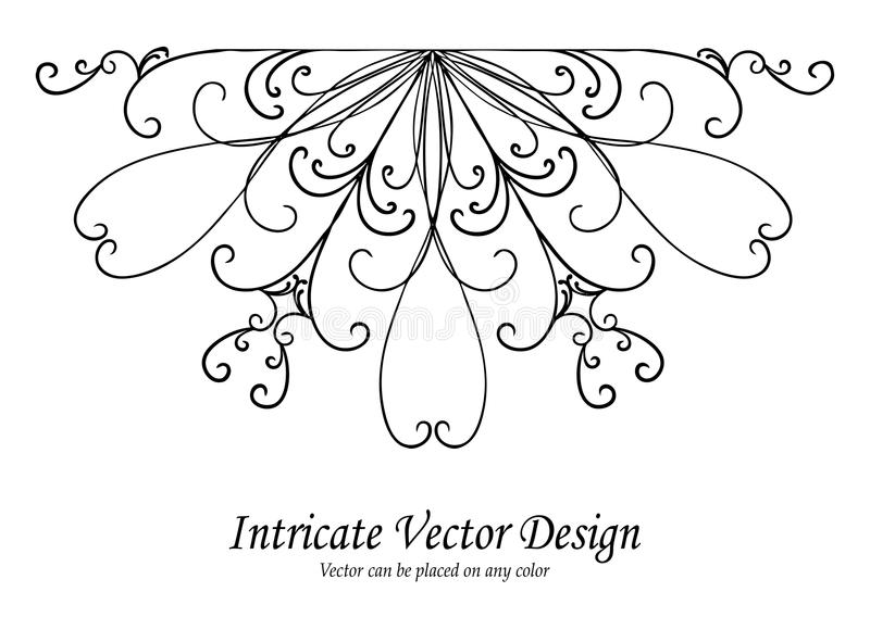Ornamental design element vector, scalloped lace border or edge with curls and swirls in symmetrical pattern, wedding d vector illustration