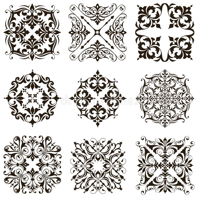 Free Ornamental Design Lace Borders And Corners Vector Set Art Deco Floral Ornaments Elements Royalty Free Stock Images - 166653639