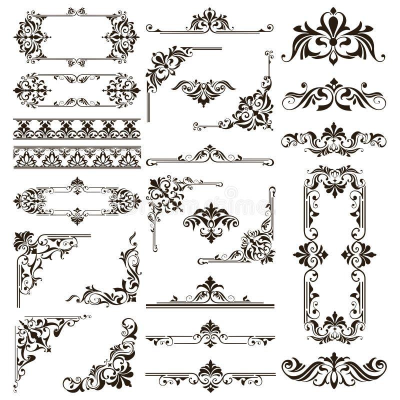 Ornamental design lace borders and corners Vector set art deco floral ornaments elements. Background saturn jupiter vector illustration