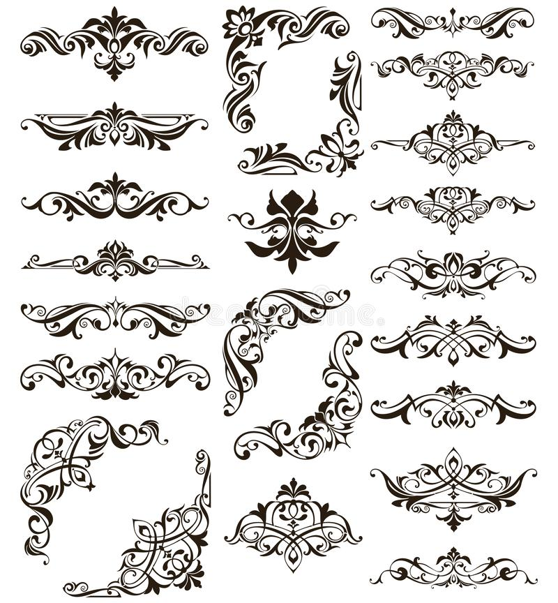 Ornamental design lace borders and corners Vector set art deco floral ornaments elements. Background saturn jupiter stock illustration