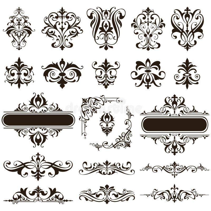 Ornamental design lace borders and corners Vector set art deco floral ornaments elements.  royalty free illustration