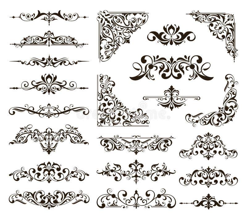 Ornamental design lace borders and corners Vector set art deco floral ornaments elements.  stock illustration