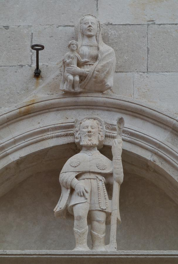An ornamental detail of the St Mark in Korcula. The entrance of the cathedral of St Marco in the center of Korcula city in Croatia is a gothic renaissance stock photos