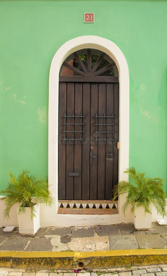 Ornamental door in old San Juan stock image