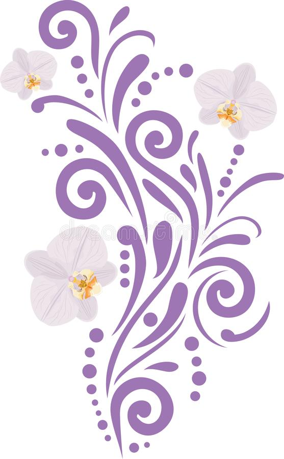 Ornamental element with orchids for design stock photo