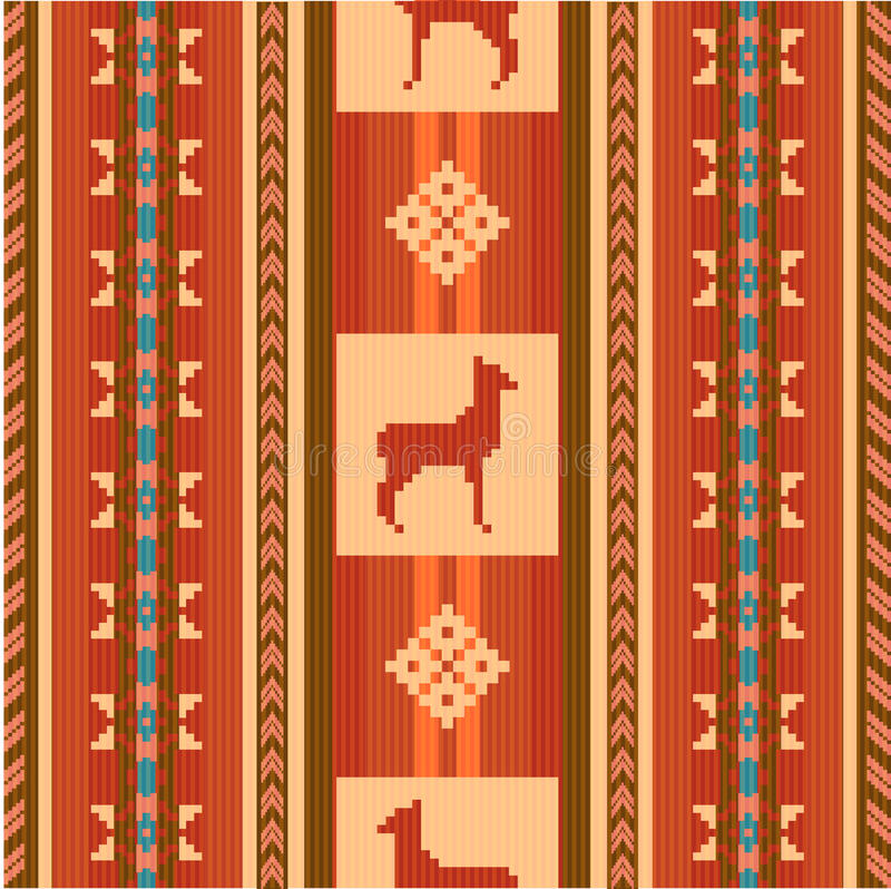 Ornamental ethnic pattern with lamas vector illustration