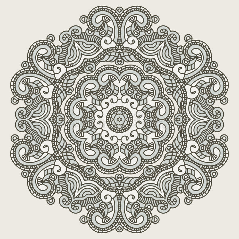 Ornamental ethnicity pattern. Colorful ethnicity round ornament, mosaic vector stained glass royalty free illustration