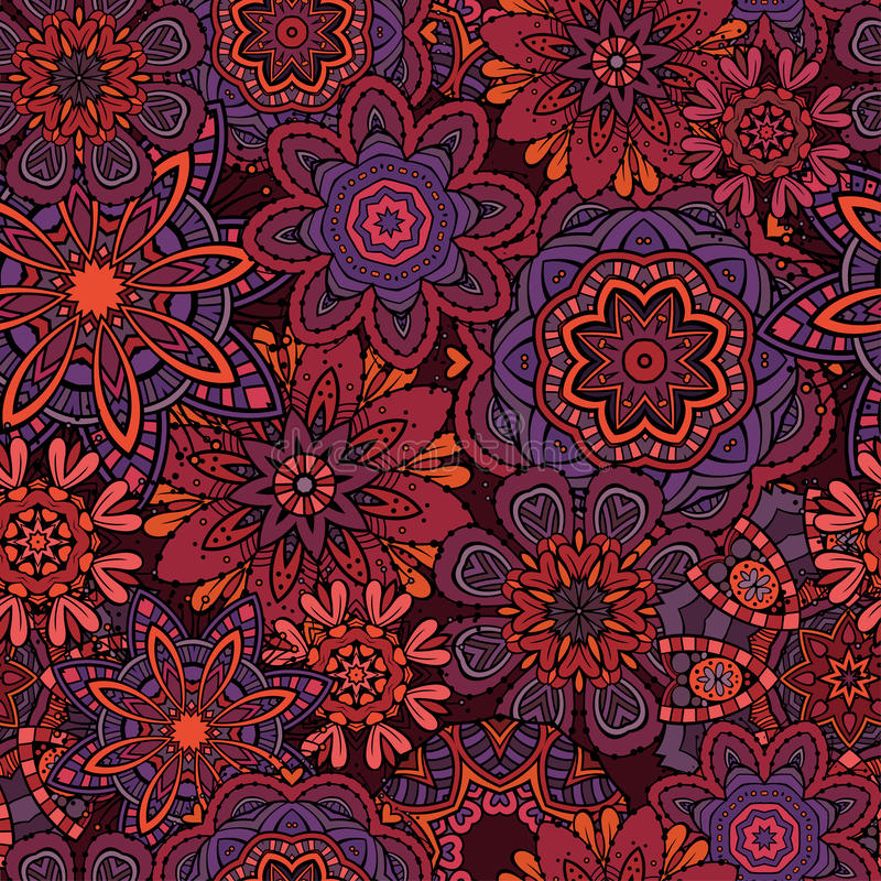 Ornamental fantasy floral seamless pattern. Beautiful abstract decorative floral ornamental seamless pattern stock illustration