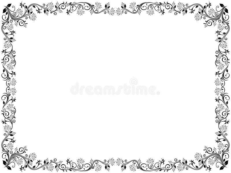 Floral frame with leaves and flowers royalty free illustration