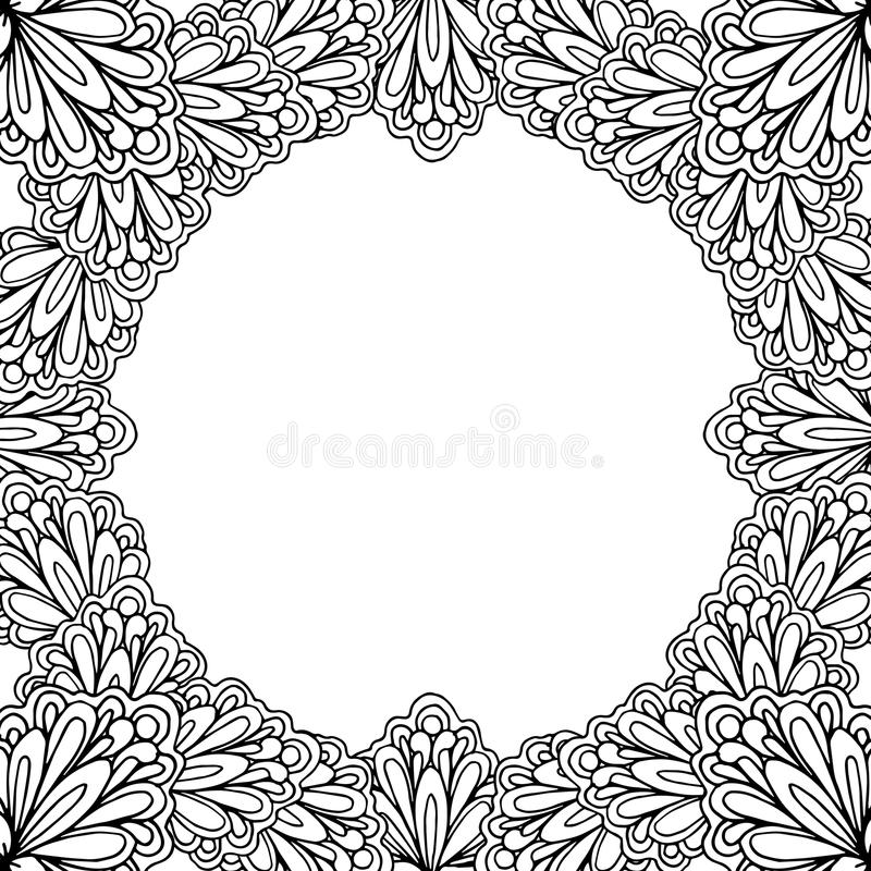 Ornamental floral frame with space for text, greeting card template or coloring book page, circle in square. royalty free illustration