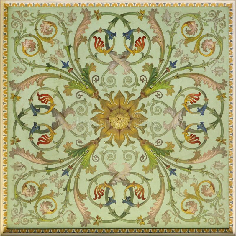 Plant fresco. Ornamental-floral fresco of the Renaissance, St. Petersburg stock photos