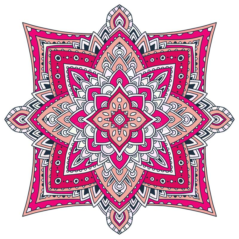 Ornamental Floral Mandala. Carpet ornament pattern. Interior mandala print in pink colors. Bright napkin design. Ornamental Floral Mandala. Carpet ornament vector illustration