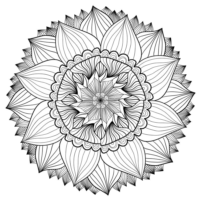 Ornamental floral mandala. Flower ornament pattern. Vector for adult coloring page or decoration royalty free illustration