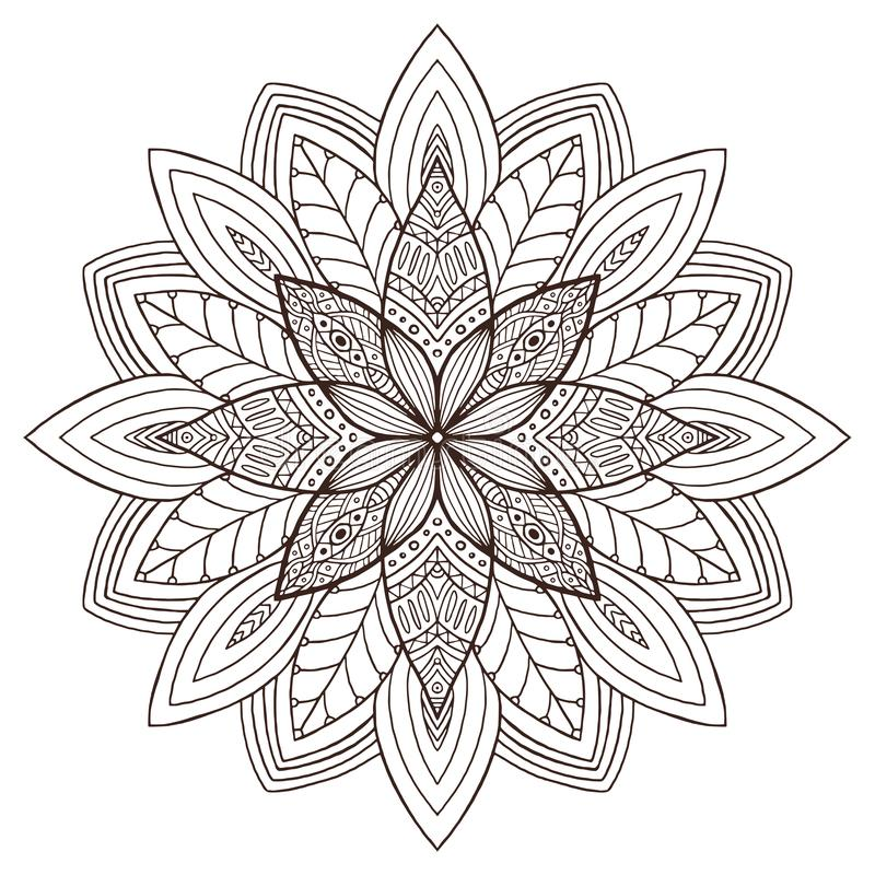 Ornamental Floral Mandala. Tattoo art design. Carpet ornament pattern. Vector for adult coloring page. Interior mandala print. Ornamental Floral Mandala. Tattoo vector illustration