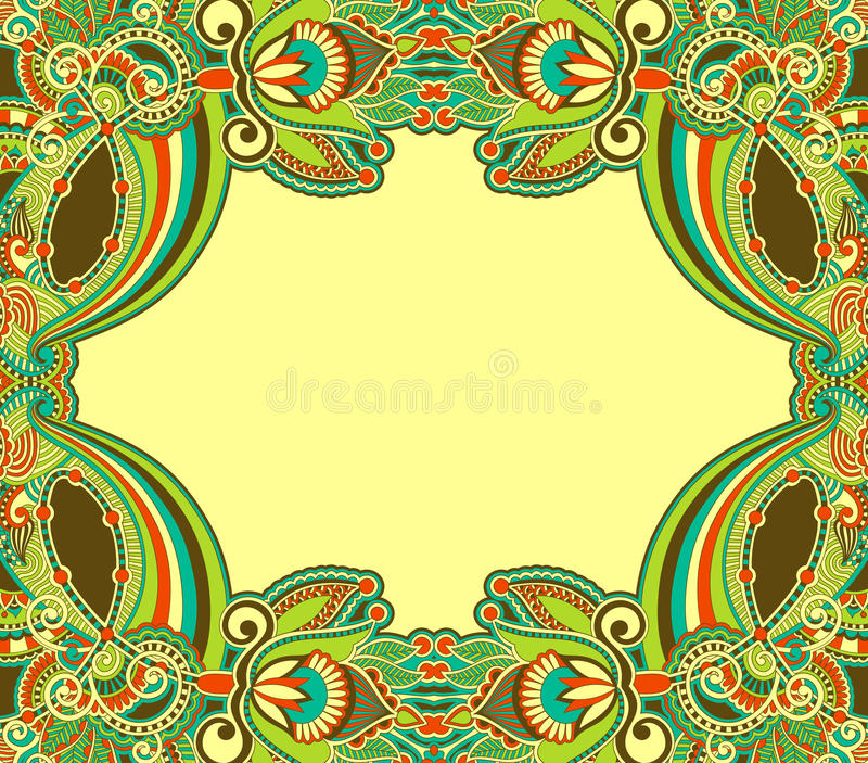 Ornamental floral vintage frame design. Hand draw oriental ornamental floral vintage frame design stock illustration