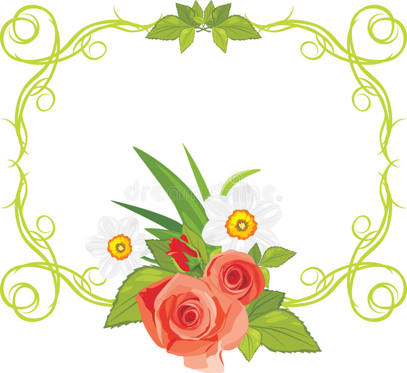 Download Ornamental Frame With Roses And Daffodils Stock Photo - Image: 24942500
