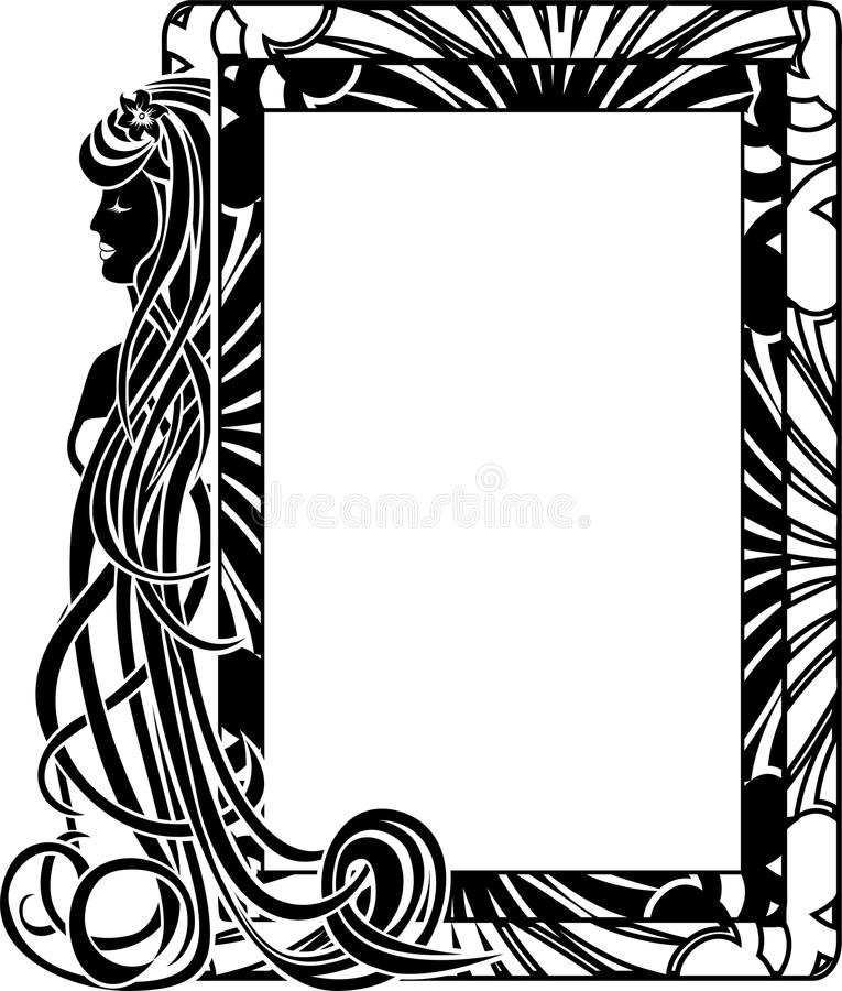 Ornamental frame in style Art Nouveau stock illustration