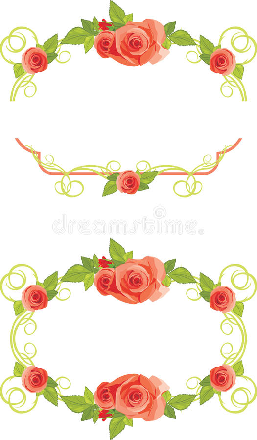 Download Ornamental Frames With Blooming Roses Stock Images - Image: 25431824