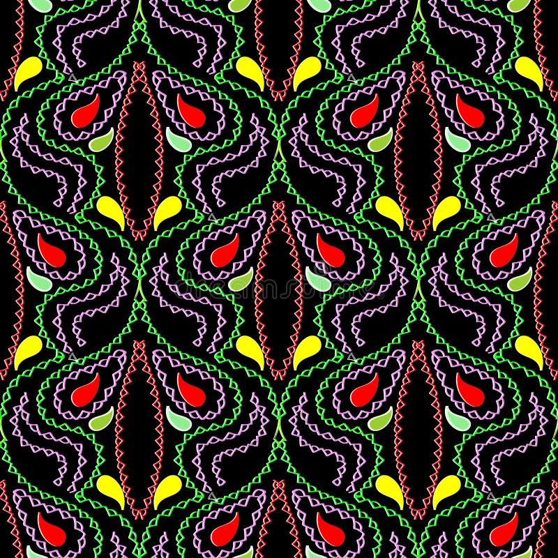 Ornamental genähtes buntes nahtloses Muster Paisleys der Art vektor abbildung