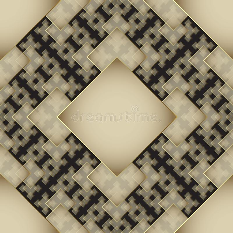 Ornamental geometric gold and black 3d vector seamless pattern. Modern elegant abstract background. Tiled rhombus, squares, shapes vector illustration