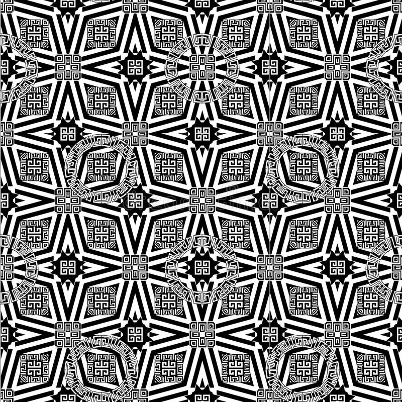 Ornamental geometric greek vector seamless pattern. Abstract black and white monochrome modern background. Geometrical shapes, gr royalty free illustration