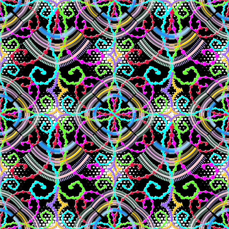 Ornamental geometric vector seamless pattern. Colorful patterned stock illustration