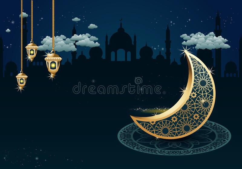 ornamental golden crescent moon sit in front great mosque on ramadan kareem background royalty free stock images