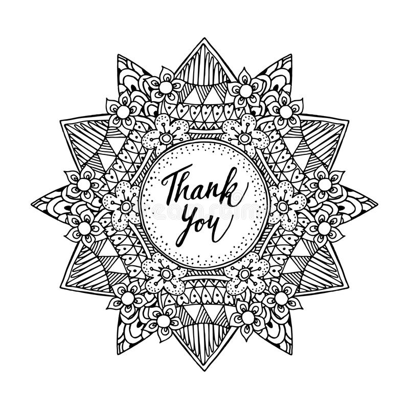 Download Ornamental Greeting Card With Hand Drawn Zentangle Inspired Mandala And Thank You Text Line