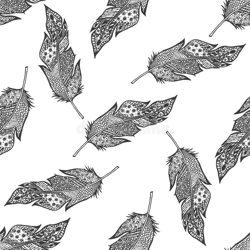 Ornamental hand drawn sketched feathers seamless pattern, vector illustration with ornament, isolated stock illustration