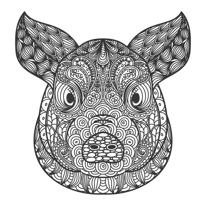 Ornamental head of pig or boar a symbol of new year 2019. Black and white doodling concept royalty free illustration