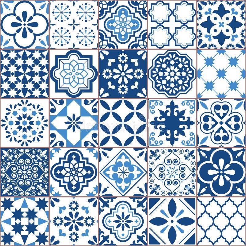 Lisbon geometric Azulejo tile vector pattern, Portuguese or Spanish retro old tiles mosaic, Mediterranean seamless navy blue desig. Ornamental indigo textile stock illustration