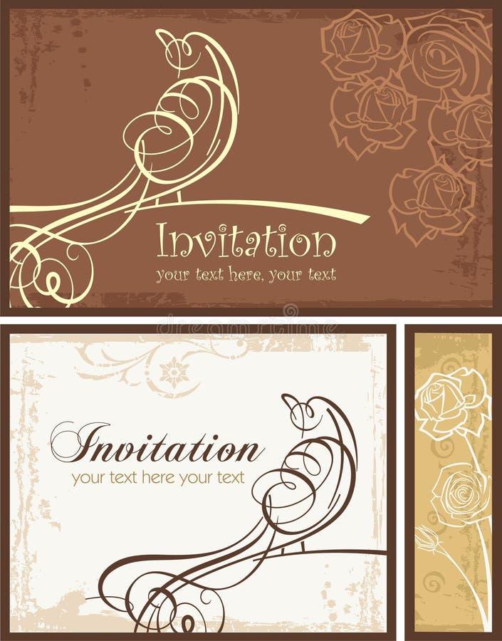 Download Ornamental Invitation Designs Set With Bird Stock Photo - Image: 20337040