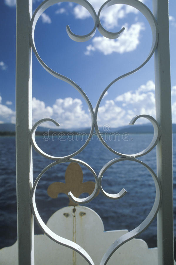 Ornamental iron fence on the Tahoe Queen Paddlewheel stock photo